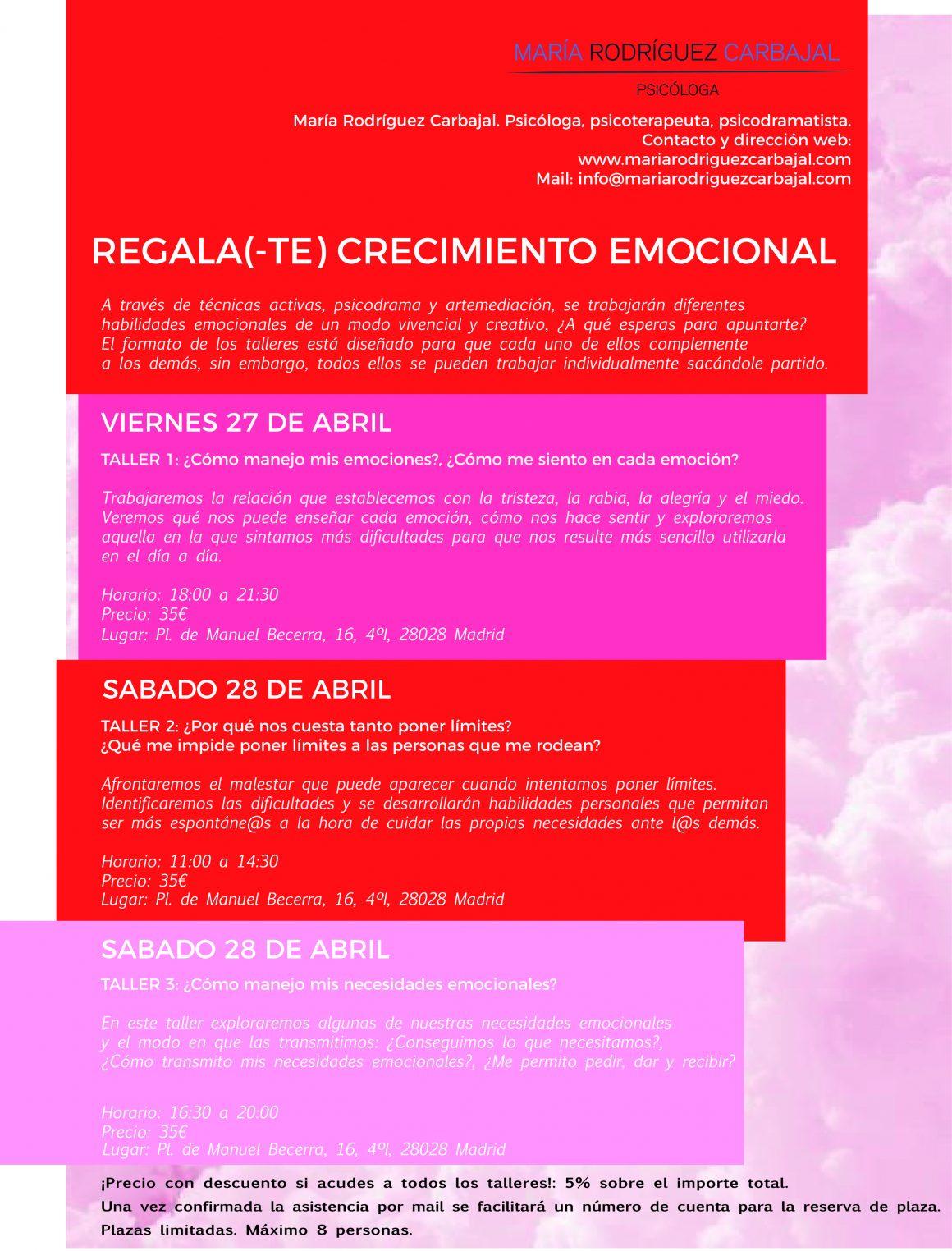 Próximos talleres: REGALA(-TE) CRECIMIENTO EMOCIONAL.